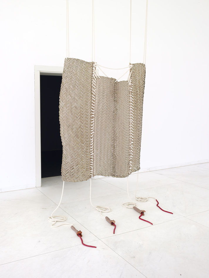 "(Room Divider)"", 2014 Coconut leave, rope, clay and spray paint. Dimensions Variable. 155 x 150 x 7 cm"